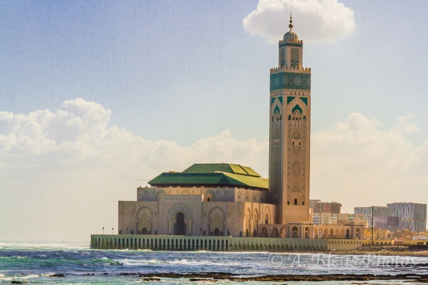 A Far away view of Hassan II Mosque, Casablanca, Morocco