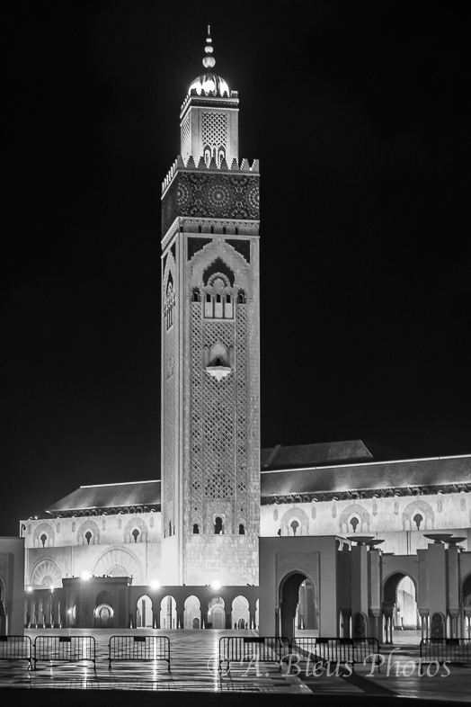 Night Shot of Hassan II Mosque, Casablanca, Morocco