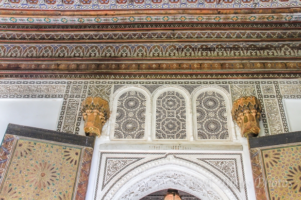 Part Ceiling and Part Wall Decoration in Palais Bahia, Marrakesh, Morocco