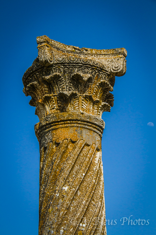 Roman Column at Archaeological Site of Volubilis, Morocco