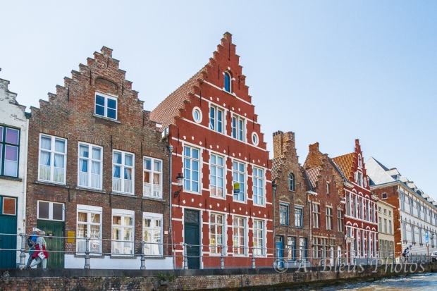 Attractive Building Façades along Canal in Brugge, Belgium