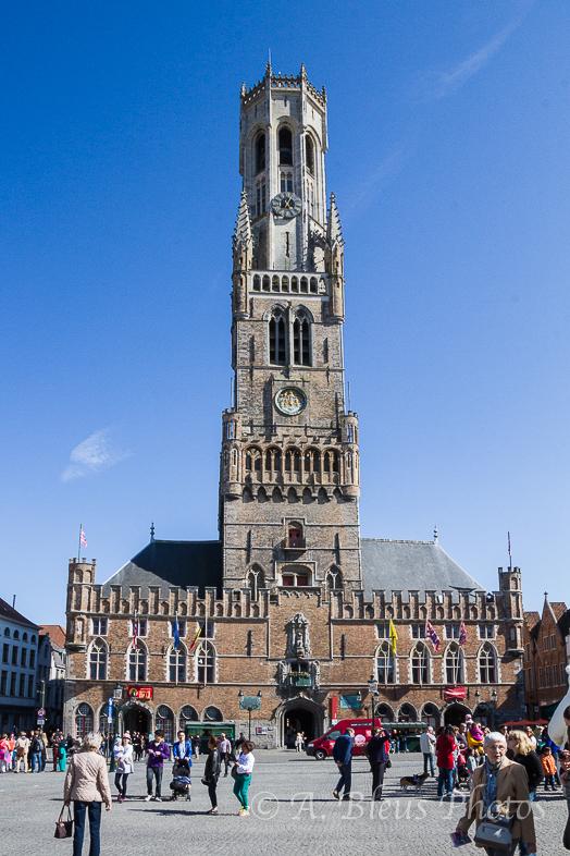 Belfry of Bruges- Market Square in Brugge, Belgium
