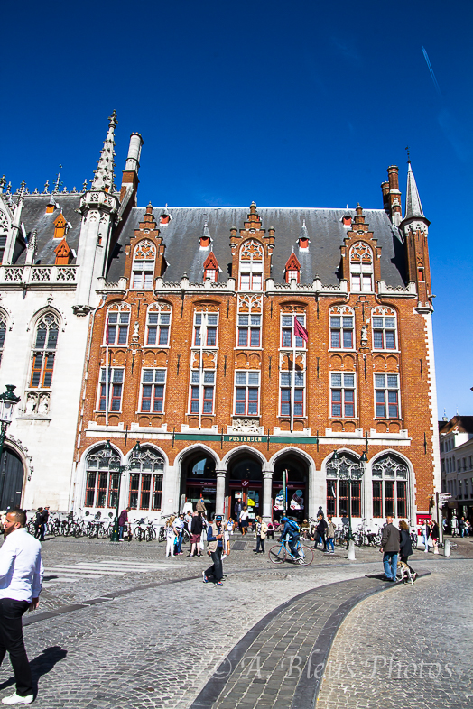 Building Façade on Market Square in Brugge, Belgium