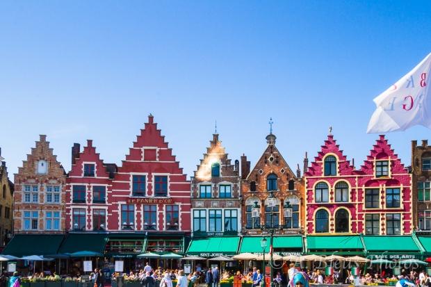 Building Façades Market Square in Brugge, Belgium