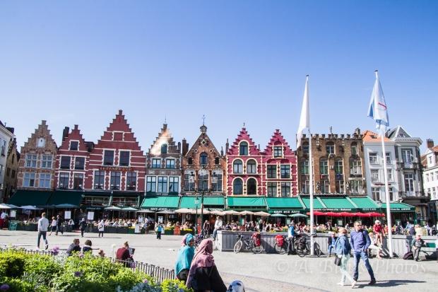 Building Façades MG8993 Market Square in Brugge, Belgium