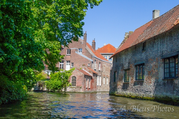 Houses along Canal in Brugge, Belgium
