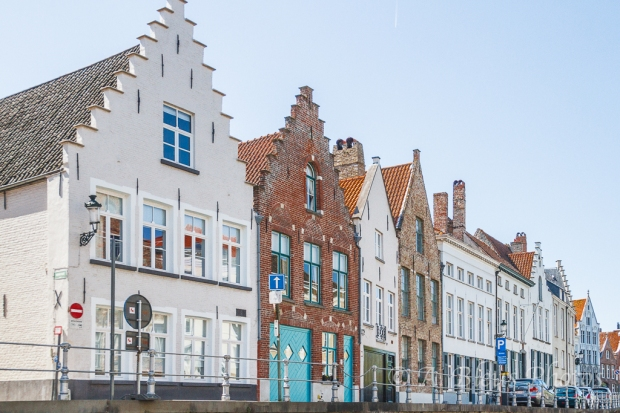 More Attractive Building Façades along Canal in Brugge, Belgium