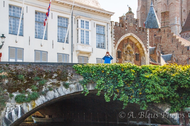 Man on Bridge in Brugge, Belgium