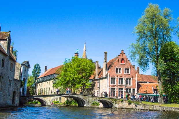 Red Brick Houses along the Canal in Brugge, Belgium
