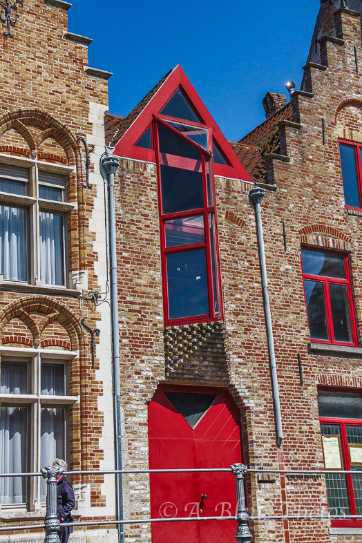 Red Triangle Roof & Red Gate House in Brugge, Belgium