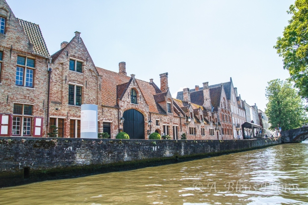 Row of Houses along Canal in Brugge, Belgium