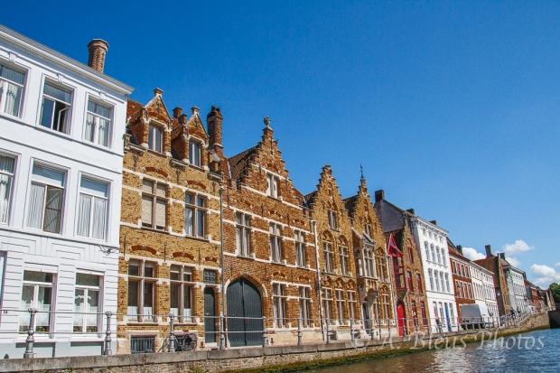 White & Red Brick Façades Houses in Brugge, Belgium