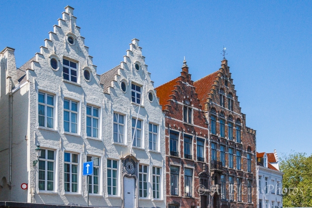 White & Red Brick Houses in Brugge, Belgium
