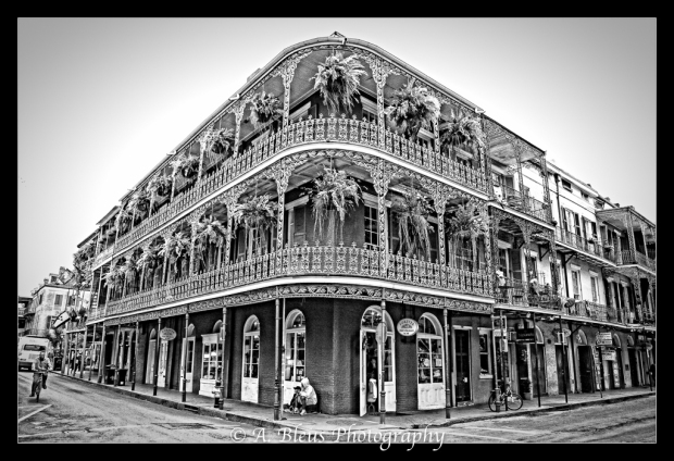 New Orleans Houses wrought iron balcony in B&W MG_9888