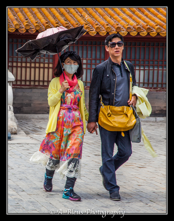 Lady with Umbrella and Mask- Forbidden City, Beijing