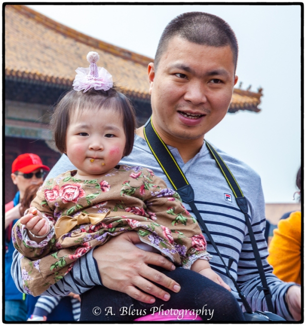Portrait of Young Chinese Girl with her Dad- Forbidden City, Beijing