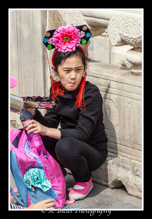Young Chinese Girl with Hat and Fan- Forbidden City, Beijing_-3