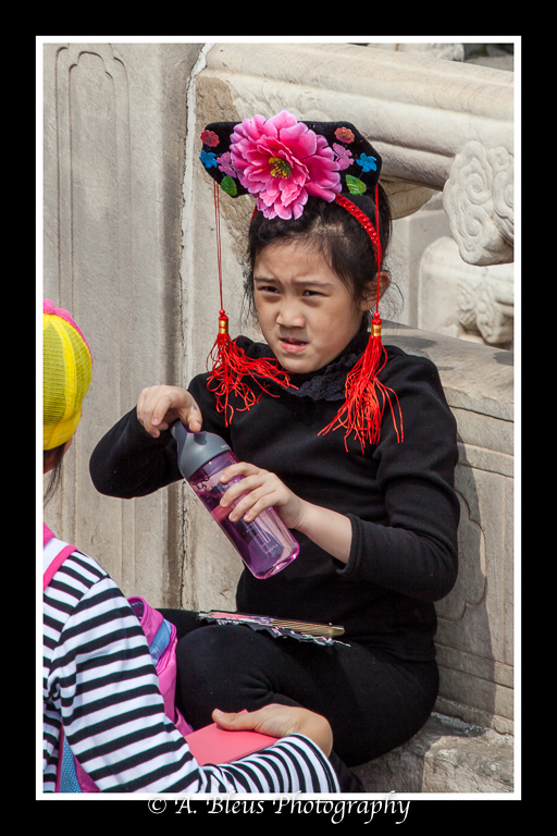Young Chinese Girl with Hat and Fan- Forbidden City, Beijing_