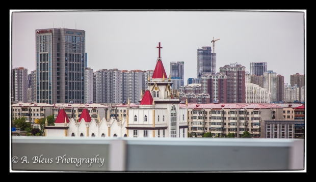 Partial View of a Church & Apartment Building,  China
