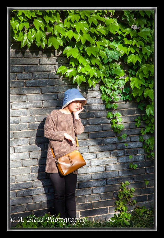 Chinese Woman posing for photo at Wild Goose Pagoda Park, Xian, China-2