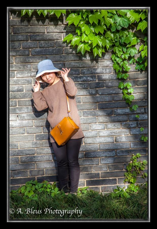 Chinese Woman posing for photo at Wild Goose Pagoda Park, Xian, China