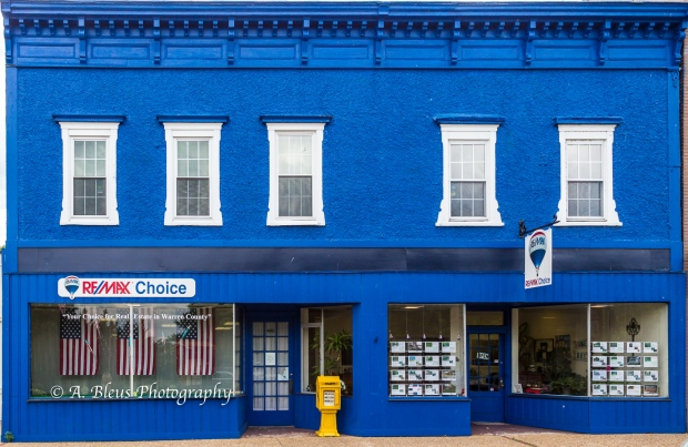Blue Building Façade with white windows, Front Royal Va