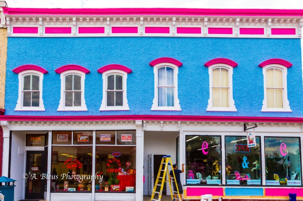 Blue, Pink and White Building Façade, Front Royal, Va 93E1190